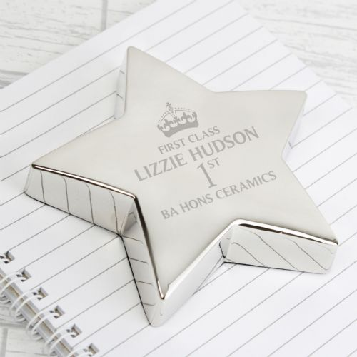 Personalised Silver Star Paperweight Graduation Gift